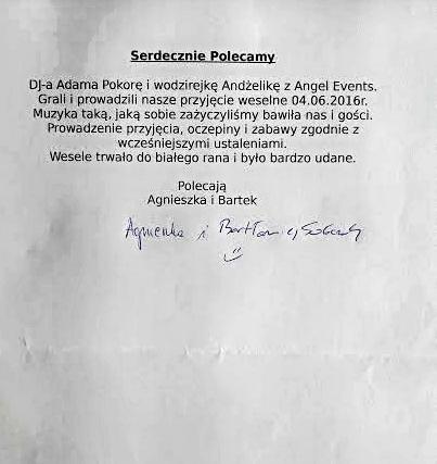 Referencje Agnieszka i Bartek 04.06.2016nn